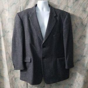 Stafford black herringbone wool 2 button jacket 48